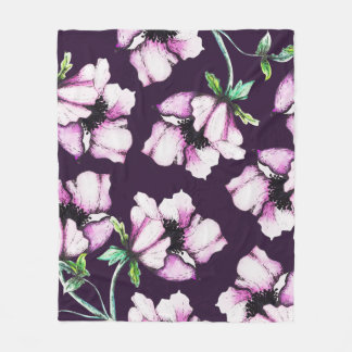Manta Polar Flores botánicas púrpuras modernas de la acuarela