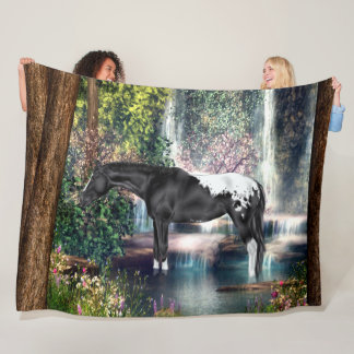 Manta Polar Fondo negro de la cascada del caballo del