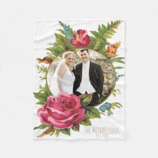 Manta Polar Frontera floral del boda y de la foto de los pares