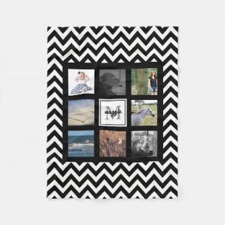 Manta Polar Galones negros y blancos del collage de Instagram