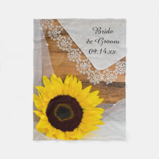 Manta Polar Girasol rústico y boda del país del cordón