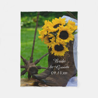 Manta Polar Girasoles rústicos y boda del país de las botas de