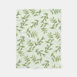 Manta Polar Hojas lindas elegantes del verde del vintage