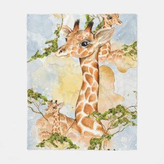 Manta Polar Imagen animal del retrato de la jirafa