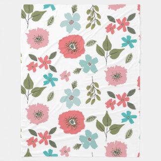 Manta Polar Impresión floral ilustrada mano
