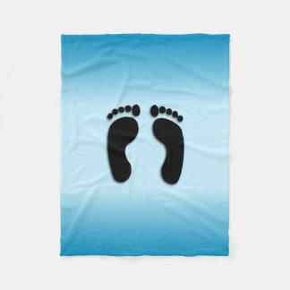 Manta Polar Impresiones azules del pie
