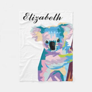 Manta Polar Koala colorida personalizada del arte pop