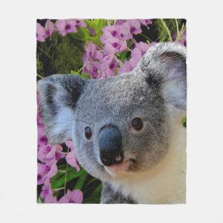 Manta Polar Koala y orquídeas