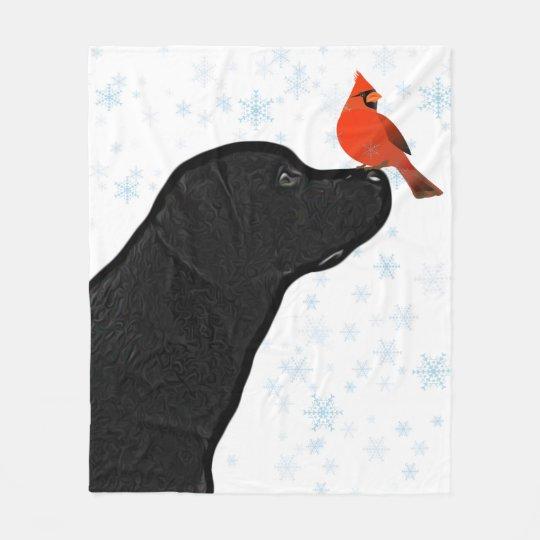 Manta Polar Laboratorio negro y navidad cardinal