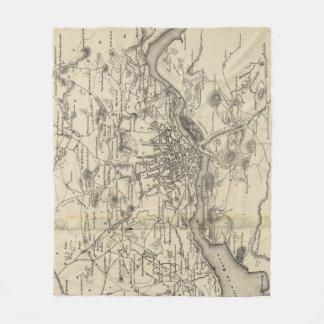 Manta Polar Mapa del vintage de Oporto Portugal (1835)