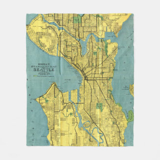 Manta Polar Mapa del vintage de Seattle Washington (1914)
