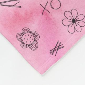 Manta Polar Modelo rosado personalizado Amy de la acuarela
