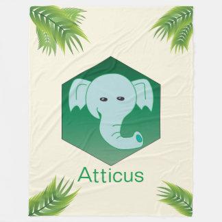 Manta Polar Monograma verde del elefante de las hojas de palma