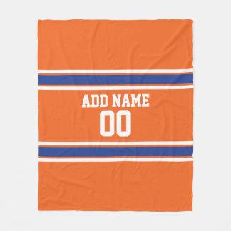 Manta Polar Naranja y jersey personalizado azul de los