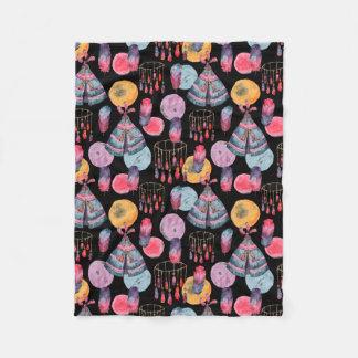 Manta Polar Negro colorido de la acuarela moderna abstracta