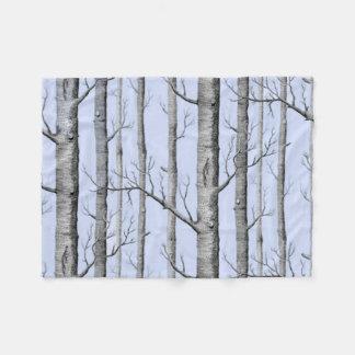 Manta Polar País, árboles hermosos de Aspen en azul
