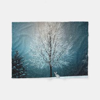 Manta Polar País de las maravillas del invierno con el conejo