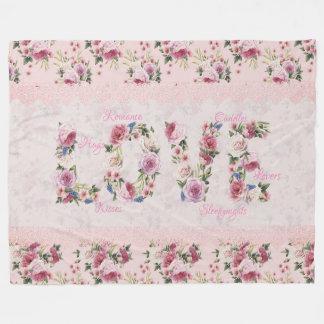 """Manta Polar Palabra floral """"amor """" de los rosas rosados"""