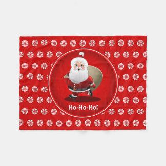 Manta Polar Papá Noel lindo con un saco lleno de regalos