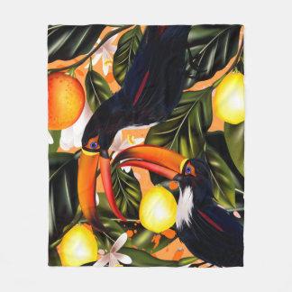 Manta Polar Paraíso tropical. Toucans y fruta cítrica