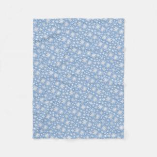 Manta Polar Pequeñas flores blancas con Blue1