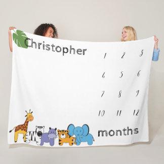 Manta Polar Personalizado, safari, bebé, meses del jalón
