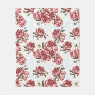 Manta Polar Ramo dibujado romántico de los rosas rojos del