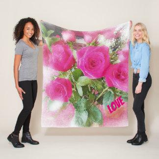 Manta Polar Ramo hermoso de los rosas del AMOR romántico