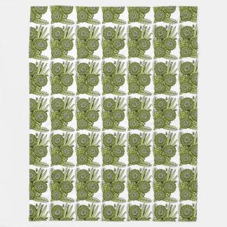 Manta Polar Ramo verde ácido de la flor de la margarita del
