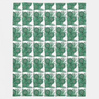 Manta Polar Ramo verde de la flor de la margarita del Gerbera