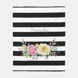 Manta Polar Rayas negras de moda florales color de rosa