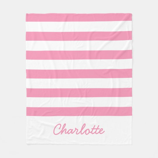 Manta Polar Rayas rosadas y blancas felices personalizadas