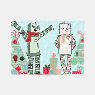 Manta Polar Robots, regalos y árbol en colores pastel del día