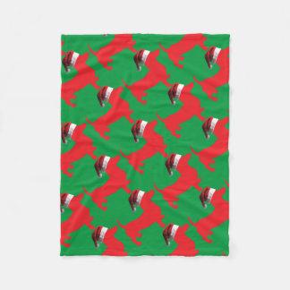 Manta Polar Rojo-Doxie---Y-Santa-Gorra