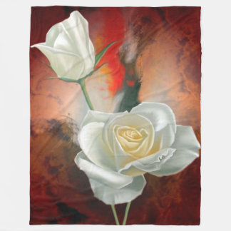 Manta Polar Rosas blancos