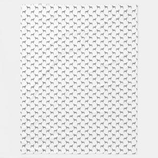 Manta Polar Siluetas grises de Weimaraner en el fondo blanco