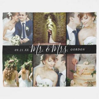 Manta Polar Sr. y señora 6 collage del recuerdo del boda de la