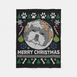 Manta Polar Suéter feo de las Felices Navidad de Shih Tzu