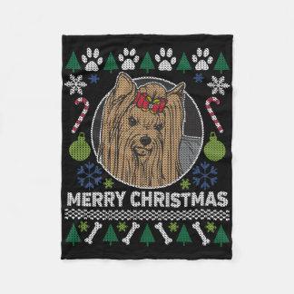 Manta Polar Suéter feo de las Felices Navidad de Yorkshire