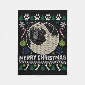 Manta Polar Suéter feo de las Felices Navidad del barro