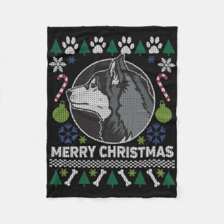 Manta Polar Suéter feo de las Felices Navidad del husky