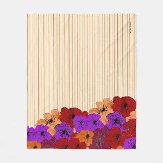 Manta Polar Tela a rayas colorida de los Wildflowers