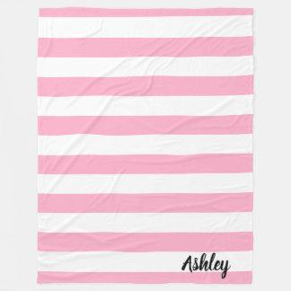 Manta rayada personalizada del rosa y blanca del