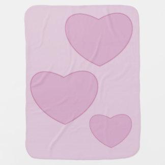 Manta rosada del bebé de los corazones manta de bebé