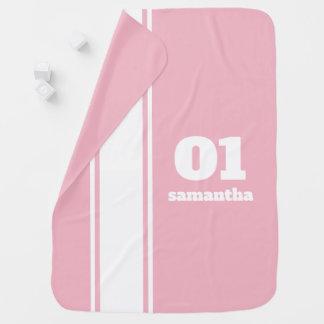 Manta rosada del bebé del monograma de la raya de