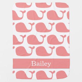 Manta rosada náutica personalizada del bebé de las