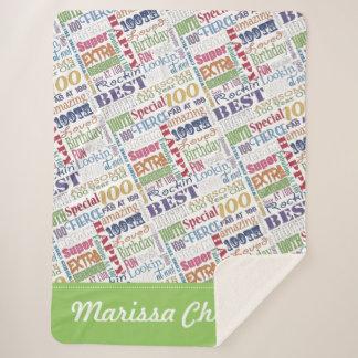Manta Sherpa 100o Monograma personalizado Special de la fiesta