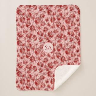 Manta Sherpa Bebé rojo y rosado hermoso de Monogramed