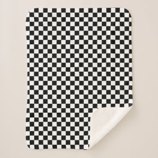 Manta Sherpa Blanco a cuadros clásico del negro del control del