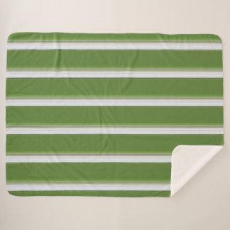 Manta Sherpa Blanco moderno en raya verde